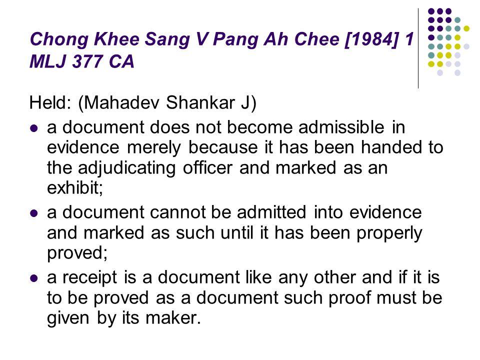 Chong Khee Sang V Pang Ah Chee [1984] 1 MLJ 377 CA